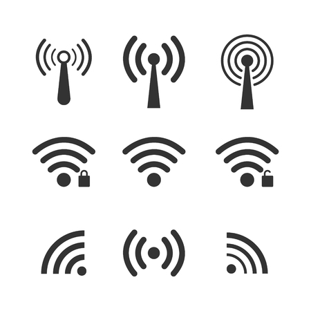 Set of wireless wifi icons, isolated on white background. Vector illustration