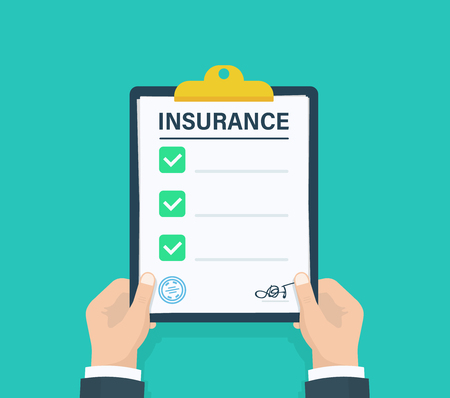 Man hold Insurance clipboard with checklist. Questionnaire, survey, clipboard, task list. Flat design, vector illustration on background