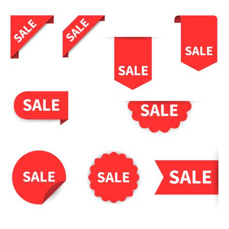 판매 레이블 컬렉션 집합입니다. 판매 태그입니다. 빨간 리본, 배너 및 아이콘을 할인합니다. 쇼핑 태그. 판매 아이콘입니다. 레드 흰색 배경, 벡터 일러스트 레이 션에서 절연
