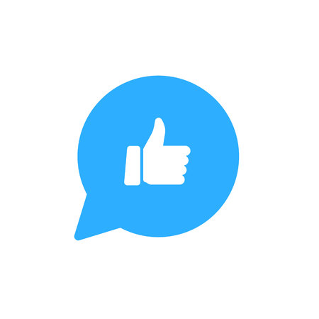 Thumbs up like social network icon with new appreciation number symbol. Vector social media illustration