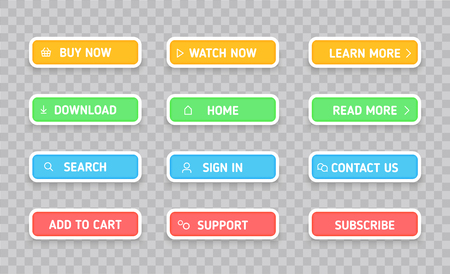 Set colors buttons. Different colors and icons. Vector illustration