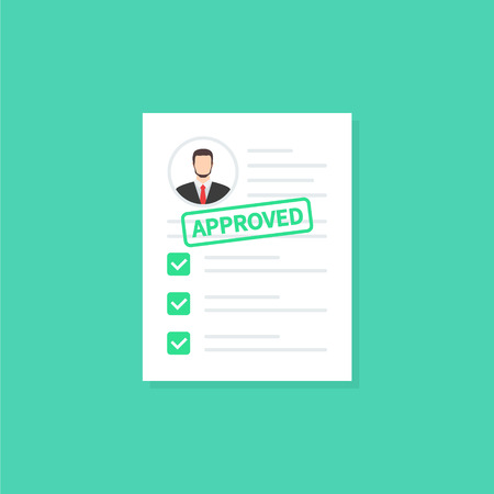 Approved clipboard. Clipboard application with document, green approved stamp and pen. Modern flat design graphic elements. Vector illustration concept