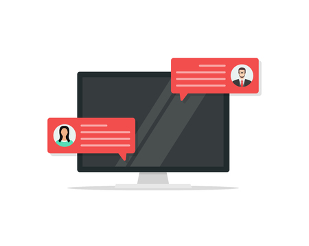 Computer with customer review rating messages , flat cartoon design of desktop pc display and online reviews or client testimonials, feedback, rating stars. Flat design, vector illustration Reklamní fotografie - 121773612