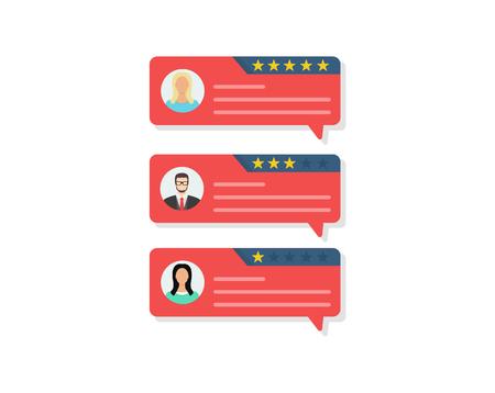 Customer review rating messages, online reviews or client testimonials, feedback, rating stars. Flat design, vector illustration Illustration