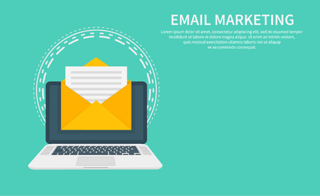 Email marketing, newsletter marketing, email subscription and drip campaign with icon. Flat design, vector illustration on background  イラスト・ベクター素材