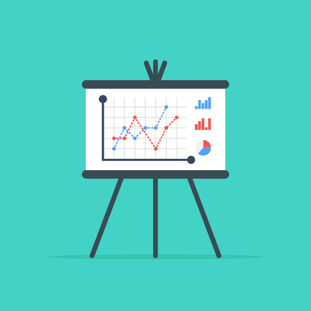 Business presentation board. Flip chart with growing graph, diagram. Report screen with market data statistics business strategies. Flat design, vector illustration on background Illustration