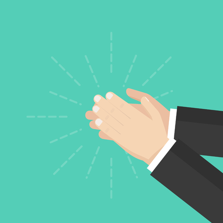 Human hands clapping. Applauding hands. Flat design, vector illustration on background