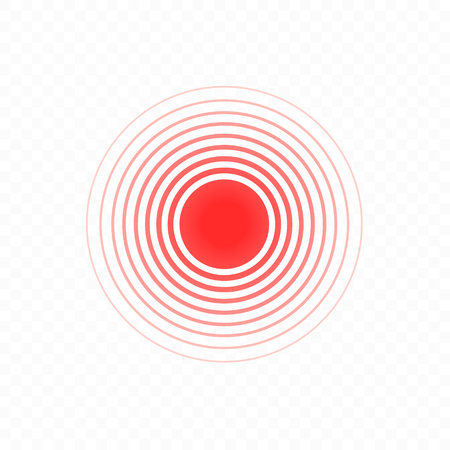 Pain circle. Isolated bold vector red ring from thin to thick. Symbol throbbing pain. Vector illustration on background Ilustração