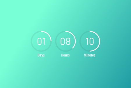 Hours, minutes, seconds. Template digital clock timer background. Icon of timer showing what time is left to beginning of certain event. Flat design, vector illustration on background
