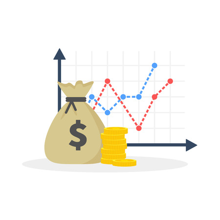 Income increase strategy, Financial high return on investment, fund raising, revenue growth, interest rate, loan installment, credit money, budget balance. Flat design, vector illustration on background