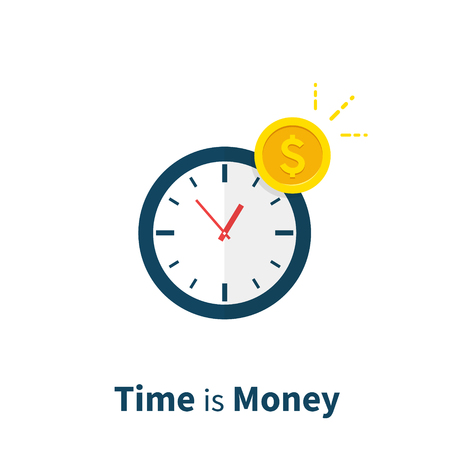 Time is Money, long term investment, financial planning, finance strategy, payment deadline, time management. Flat design, vector illustration icon on background Illustration