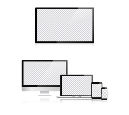 Electronic devices, web design vector template with laptop, tablet, smartphone, computer. Flat design, vector illustration on background