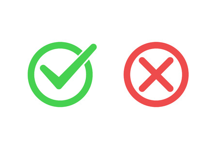 Tick icon set. Stylish check mark icon set in green and red color, Flat design, vector illustration on background