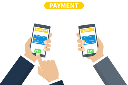 Digital mobile wallet payment concept - hand holding mobile phone with credit card icon on the touchscreen. Internet banking. Wireless money transfer. Flat design, vector illustration on background