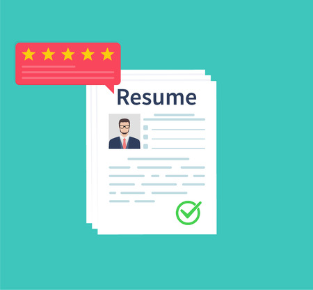 Man holding Resumes in hand. Concept of human resources management. Selecting staff and earching professional staff. Analyzing personnal resume. Flat design, vector illustration on green background Ilustração