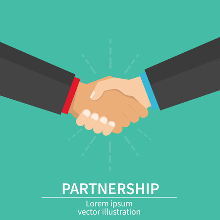 Business partner handshake of business partners. Success deal, happy partnership, casual handshaking agreement. Flat design, vector illustration on background