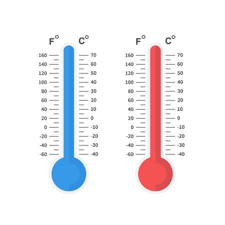 Termometr zimna i ciepła, skala temperatur zimowych i letnich. Płaska konstrukcja, ilustracji wektorowych na tle Ilustracje wektorowe