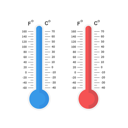 Thermometer of cold and heat, winter and summer temperature scale. Flat design, vector illustration on background Ilustração Vetorial