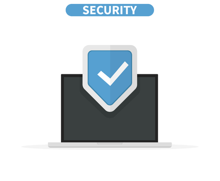 Computer data security Access concept. Laptop protect sensitive data. Internet security. Flat design, vector illustration on background