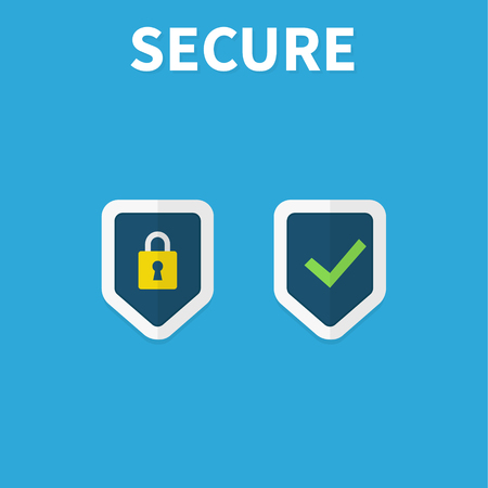 Shields and check marks icons set. Red and green shield with checkmark and x mark. Protect sensitive data, Internet security, reliability concepts. Flat design, vector illustration on background