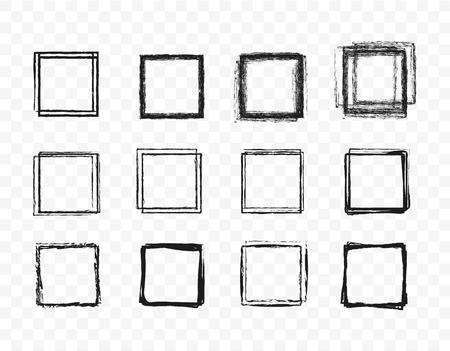 Set hand drawn circle line sketch set. Square doodle for message note mark design element. Vector illustration on green background