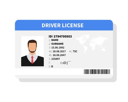 Flat man driver license plastic card template, identification card vector illustration