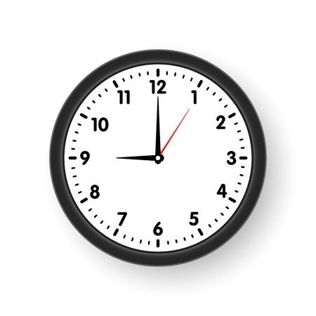 Clock face with shadow on white background. Vector illustration Vektorové ilustrace