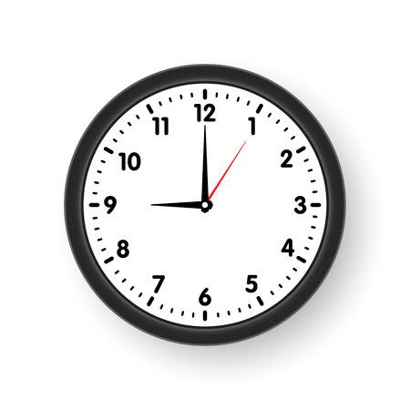 Quadrante di orologio con ombra su sfondo bianco. Illustrazione vettoriale Vettoriali