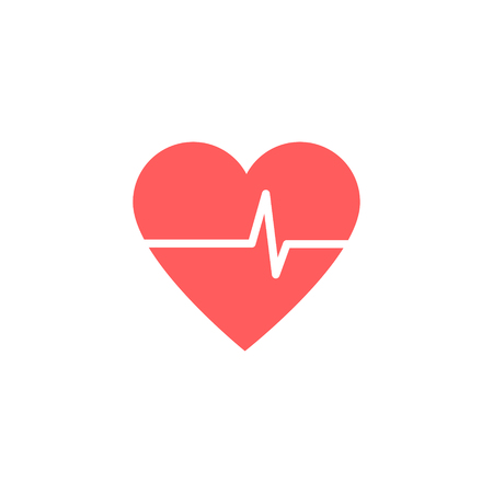 Heart Isometric health care concept red shape and heartbeat. Vector illustration Imagens - 122792263