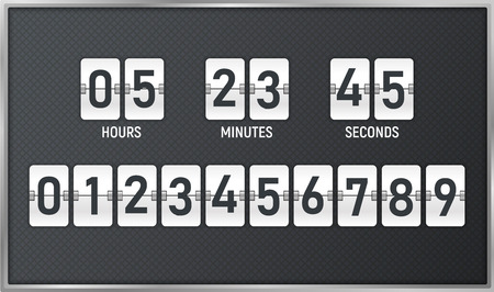 Countdown timer. Time remaining count down flip board with scoreboard of day, hour, minutes and seconds for web page upcoming event template design, under constuction page. Vector illustration Ilustrace