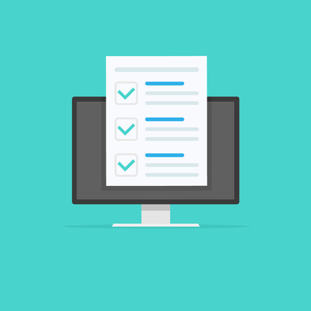 Online form survey, monitor with showing long quiz exam paper sheet document icon, on-line questionnaire results, check list or internet test. Vector illustration Фото со стока - 121773696