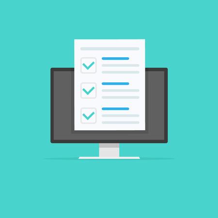 Sondaggio di moduli online, monitor con visualizzazione dell'icona del documento del foglio di carta dell'esame lungo quiz, risultati del questionario online, elenco di controllo o test su Internet. Illustrazione vettoriale Vettoriali