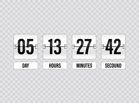 White Countdown timer with white numbers isolated on transparent background. Clock counter. Vector illustration template