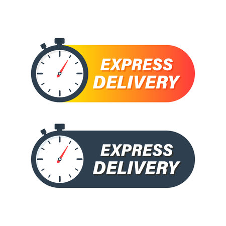 Express delivery icon. Timer and express delivery inscription vector illustration isolated on white background Standard-Bild - 122791979