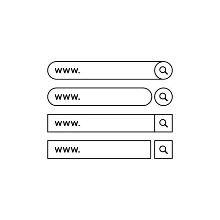 Set www search bar icons. Vector illustration isolated on white background. www search bar icon for web site, app, ui and logo. Concept search and www