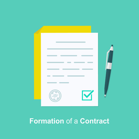 Contract creation, document formation, obligation concept, last will paper, prenup terms conditions, application form composition, settlement agreement. Vector illustration on background