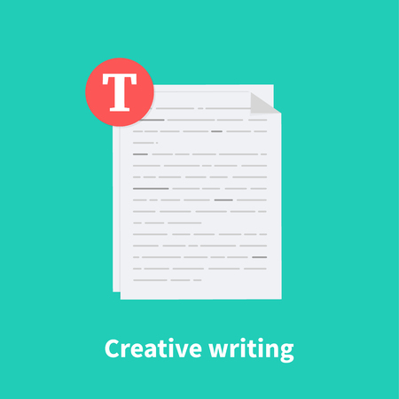 Creative writing. Summary reading, brief report, assignment concept, storytelling and copywriting, grammar review, contract terms and conditions, education test, exam preparation. Vector illustration