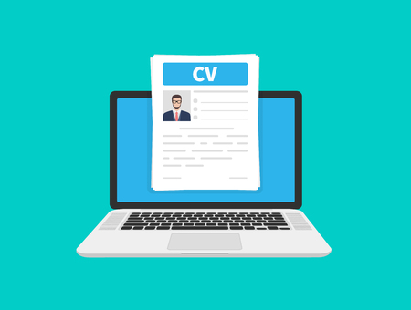 CV resume. Job interview concept. Writing a resume. Laptop with personal resume. Flat cartoon design, vector illustration on background