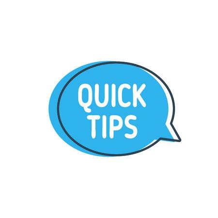 Schnelle Tipps. Sprechblase auf weißem Hintergrund Vektorgrafik