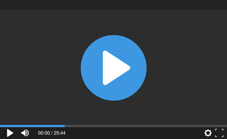 Video Player for web site. Interface template for web and mobile apps. Flat design, vector illustration on background