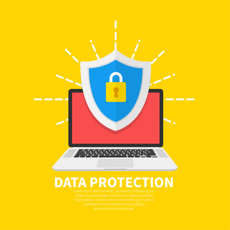 Data Protection flat illustration concept. Laptop with shield and lock. Flat cartoon design, vector illustration on background Vecteurs