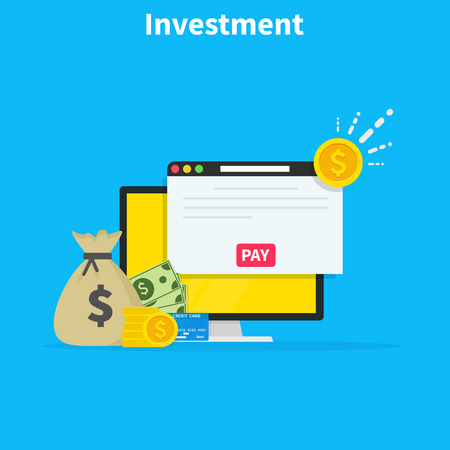 Financial investments concept, marketing, analysis, security of deposits, guarantee of security financial savings and money turnover. Investment in innovation. Flat cartoon design, vector illustration. Ilustração Vetorial