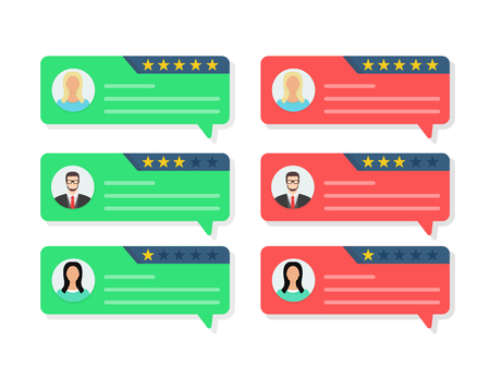Feedback concept, Customer review communication, testimonials, online survey, rating stars, positive and negative comments, chat bubble speeches. Flat cartoon design vector illustration on background Reklamní fotografie - 121773858