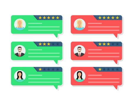 Feedback-Konzept, Kundenbewertungskommunikation, Testimonials, Online-Umfrage, Bewertungssterne, positive und negative Kommentare, Chat-Sprechblasen. Flache Cartoon-Design-Vektor-Illustration auf Hintergrund Vektorgrafik
