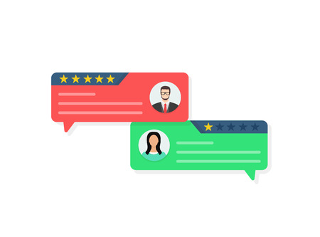Feedback concept, Customer review communication, testimonials, online survey, rating stars, positive and negative comments, chat bubble speeches. Flat cartoon design vector illustration on background