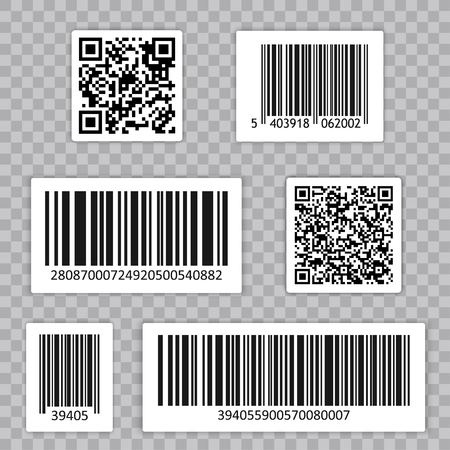 Bar Code Set Vector. Qr cide. Universal Product Scan Code