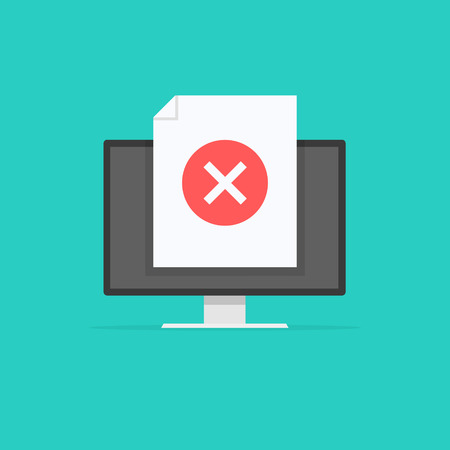 Computer with Cross sign, monitor not approved tick notification. Vector illustration