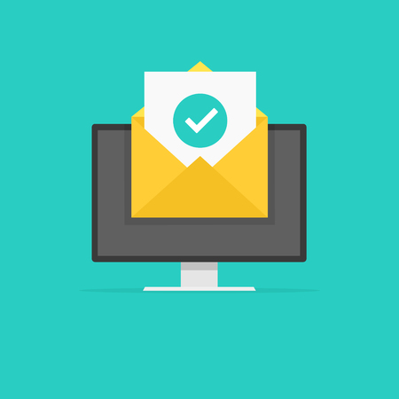 Envelope with document check mark green. Successful e-mail delivery, email delivery confirmation. Vector illustration