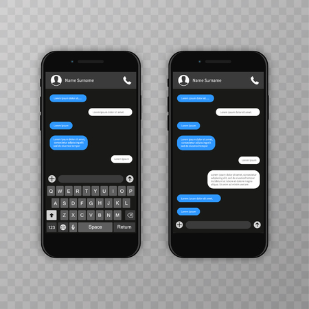 Social network concept. Blank template. Messenger window. Chating and messaging concept. Chat app template whith mobile keyboard. Vector illustration Message Ilustração