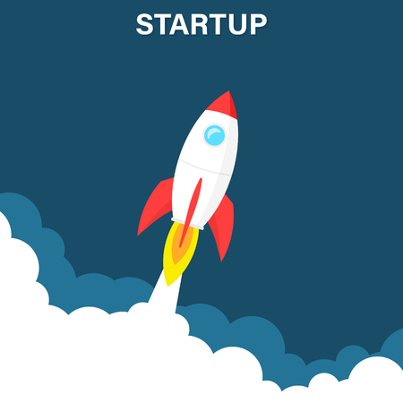 Startup business concept, rocket or rocketship launch, idea of successful business project start up,innovation strategy, boost technology, vector illustration creative background